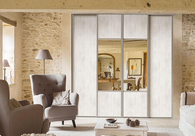 Porte placard coulissant avec miroir